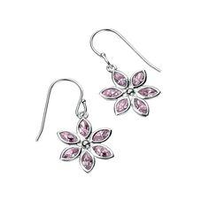 4895caa38e1 Silver Flower Drop Earrings with Swarovski Crystal