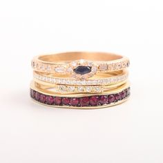 Anastasia Marquise Sapphire Ring, Catbird's Fairy Light Eternity Band, Dainty Stacking Pavé Ring, Saturn's Ring, Ruby Eternity Band - all wedding bands available at Catbird.