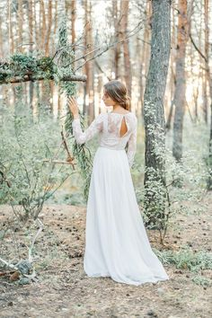 A-line wedding dress with modest lace bodice by CathyTelle on Etsy