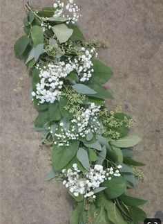 seeded eucalyptus/babies breath Bridal and bridesmaid bouquet?Salal with Seeded Eucalyptus and Baby's Breath garland.Salal w/ Eucalyptus and Baby's Breath. Center piece for head tableeucalyptus, baby's breath, add another larger white flower. Table Garland, Pine Garland, Green Garland, Wedding Table Decorations, Wedding Centerpieces, Wedding Bouquets, Rectangle Table Centerpieces, Flower Bouquets, Centerpiece Ideas