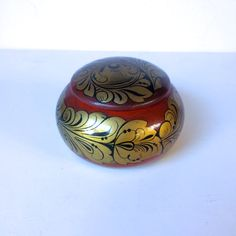 1960s Russian Khokhloma Painted Wooden Bowl with Lid. Vintage Soviet Folk Art…
