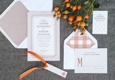 Cozy Fall Wedding Invitations--We are loving creative envelopes.
