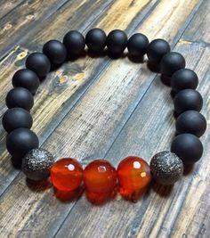Men's matte Black Onyx and carnelian bracelet, mens bracelet, beaded bracelet, stretch bracelet, jewelry, gifts for him, stackable bracelet,