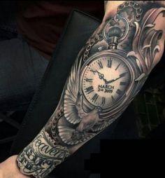 Clock Tattoo Ideas For Men Clock Tattoos for Men - Ideas and Designs for Guys Clock Tattoo Sleeve, Arm Sleeve Tattoos, Forearm Tattoos, Body Art Tattoos, Clock Tattoos, Portrait Tattoos, Mini Tattoos, Pocket Watch Tattoo Design, Pocket Watch Tattoos