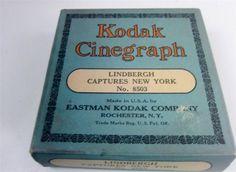 Original #Eastman Kodak #Cinegraph 16mm Film of #CharlesLindbergh Captures New York 8503,Box,Can, 1927 #Kodak