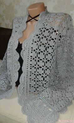 Gray jacket crochet from Svetlana Zaets . Discussion on LiveInternet - Russian Online Diaries Service Gilet Crochet, Crochet Coat, Crochet Cardigan Pattern, Crochet Blouse, Crochet Shawl, Crochet Clothes, Easy Crochet, Crochet Stitches, Free Crochet