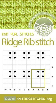 Multiple of 3 sts, plus Ridge Rib Ridge Rib Knit Purl Chart. Multiple of 3 sts, plus Спицами - Anleitung: In 4 Schritten zur Babydecke an nur einem TagBunte Geschenkkorbideen - Häke. Knitting Charts, Loom Knitting, Free Knitting, Baby Knitting, Knitting Patterns, Crochet Patterns, Afghan Patterns, Stretchy Bind Off, Ribbed Crochet
