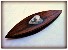 Scrimshawed Heart on Cocobolo by grizzlymountainarts, via Flickr