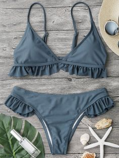 Product Description: Buy Spring Summer 2018 Swimwear Trends Women's Frilled Padded Plunge Neck Triangle Solid Color New Hot Bikini Set Beachwear on Sale by PesciModa Details: - Swimsuit Type: Bikinis Set - Gender: Women - Pattern Type: Solid - Support Type: Wire Free - Material: Nylon + Spandex + Polyester - With Pad: Yes - Waist: Low Waist