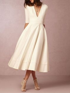 Shop Midi Dresses - V neck Tea Length Wedding Dresses online. Discover unique designers fashion at StyleWe.com.