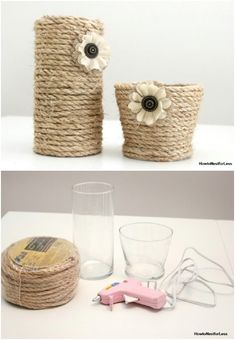 Have you ever made any craft using a Sisal rope? Its a great material to work with. You can make these DIY sisal rope vases very quickly. If you love rustic home decorthen you will love to make these vases . Handmade Flowers, Diy Flowers, Flower Vases, Summer Flowers, Vase Crafts, Craft Stick Crafts, Diy Crafts, Decor Crafts, Diy Craft Projects