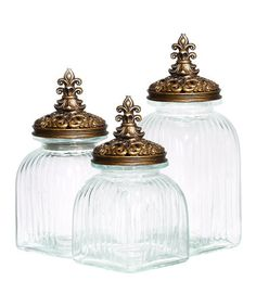 Another great find on #zulily! Glass Canister & Golden Ornate Lid Set #zulilyfinds
