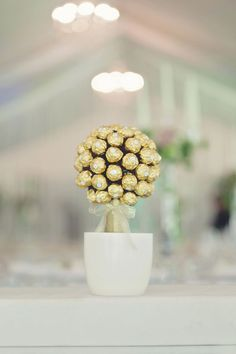 ferrero rocher topiary for the candy bar! -my favorite chocolate!