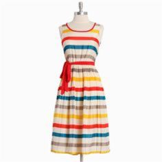 Multi-Colored Striped Midi Dress