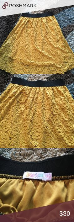 LuLaRoe Lola Skirt Washed and gently worn Lola skirt. Color is like a mustard yellow. Very pretty color. Washed according to Lula instructions 😊 LuLaRoe Skirts