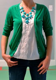 Outfit Posts: outfit post: kelly green cardigan, teal necklace ive always wanted a cardigan a pink or purple one)-: ill get one 1 of these days!!!!