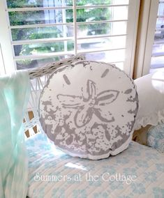 Coastal seaside ocean treasure silver sand dollar round pillow beach island : C. White Wicker Chair, Porch Chairs, Cottage Furniture, Painted Cottage, Chic Bedding, Round Pillow, Pillow Shams, Pillow Set, Shabby Chic Cottage