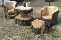 Furniture made from tree trunks More (Outdoor Wood Furniture) Tree Stump Furniture, Log Furniture, Unique Furniture, Furniture Making, Garden Furniture, Furniture Ideas, Family Furniture, Furniture Dolly, Handmade Furniture
