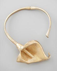 Saint Laurent, Gold Calla Lily Flower Choker Necklace