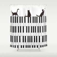 Shower Curtain Cat Piano Black and white - Music Bath Decor Kitten Unique Kitty Bathroom - Kids Children Teen Home Animal lovers Cute Gift   cats and