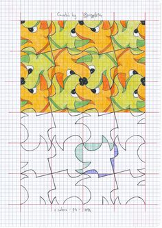 cool tessellation patterns, would love to try to reverse-engineer this process and create ones of my own for fun Escher Art, Mc Escher, Tessellation Patterns, Tesselations, Graph Paper Art, Math Art, School Art Projects, Collaborative Art, Preschool Art