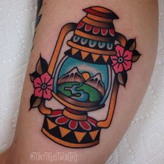 First tattoo back at home at @goldenmonkeytattoo Today I made this lantern/landscapey thing on @deadtooth_ponderosa