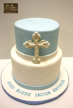 blue and white boy christening cake, cross