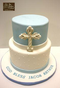 blue and white boy christening cake, cross