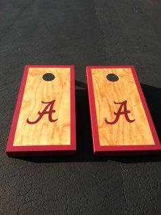 Custom made Cornhole Boards Dyi Crafts, Cute Crafts, Arts And Crafts, Make Cornhole Boards, Cornhole Set, Crimson Tide Football, Alabama Crimson Tide, Backyard Games, Outdoor Games