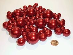 2 Packs Jumbo & Assorted Sizes All Red Pearls Vase Fillers Value Pack for Centerpieces - To Float the Pearls, Order the Transparent Water Gels Cylinder Vase, Bud Vases, Flower Vases, Vase Centerpieces, Centerpiece Decorations, Wedding Decorations, Home Decor Vases, Vases For Sale, Gem Diamonds