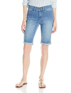 NYDJ Womens Briella Roll Cuff Short In Evansdale Wash Evansdale 0 *** Learn more by visiting the image link.