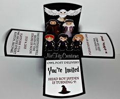 Frenchy Potter Party - A party at Harry Potter Cosplay Harry Potter, Cadeau Harry Potter, Harry Potter Fiesta, Harry Potter Cards, Cumpleaños Harry Potter, Anniversaire Harry Potter, Harry Potter Characters, Harry Potter Invitations, Harry Potter Enfants