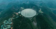 """The """"Five-hundred-meter Aperture Spherical radio Telescope"""" (FAST) is a single-dish telescope and is located in southwest China's Guiyang city, the capital of Guizhou province. Spacex Launch, Guiyang, English Articles, Planetary Science, Football Field, Astrophysics, Space Exploration, Social Science, Milky Way"""