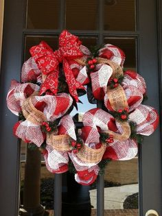 Ladybug Red Checked and Burlap Deco Mesh Wreath by DivaDecorGA, $50.00