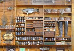 be nice to have a wall like this in the garage or in my craft room.Would be nice to have a wall like this in the garage or in my craft room. Fishing Shack, Fly Fishing Gear, Gone Fishing, Trout Fishing, Bass Fishing, Tackle Shop, Bait And Tackle, Fishing Rod Storage, Fishing Rods