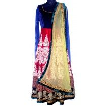 royal and elegant anarkali with blue velvet and red embroidered design for a special event