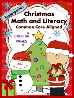 $5 Christmas Math and Literacy (Over 60 Pages of Common Core #Christmas #Commoncore #winter #ELA #Math #Kindergarten #Teacherspayteachers