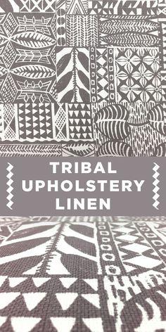 Modern Tribal Pattern Grey Upholstery Linen