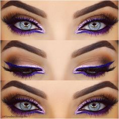@Carolinebeautyinc does an amazing electric purple liner look! #Makeup #Mua #Motd