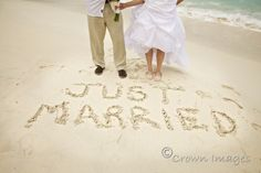 "beach wedding photos ""just married"" in the sand - Google Search"