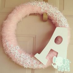 Baby wreath for pink and white nursery
