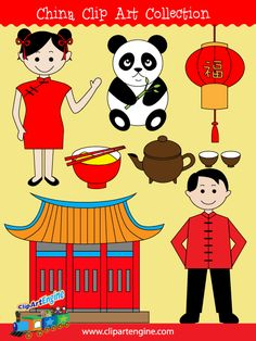 The royalty free vector graphics included are a Chinese girl, Chinese man, lantern, teapot and cups, Chinese temple, panda bear, and a bowl and chopsticks.