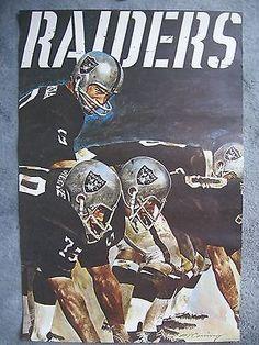 Vintage 1971 oakland raiders nfl collector series art poster - mint -  original e2ca4a1ddc28f