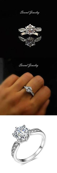 Serend 18k White Gold Plated 1 5ct Heart And Arrows Cut Cubic Zirconia Solitaire Engagement Ring