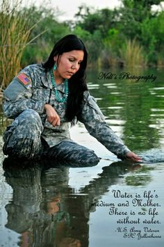 Native American ~ My beautiful Army Sister. Spc Tonya Yellowhorse - Diné US Army Veteran Airborne! For Water is Life. This too we will fight for & defend.