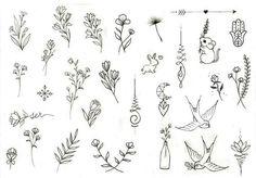 Tatuagens Pequenas e Delicadas +De 120 Modelos de desenhos Small Flower Drawings, Flower Drawing Tumblr, Small Flower Tattoos, Small Flowers, Small Tattoos, Tattoo Flowers, Line Tattoos, Body Art Tattoos, Tatoos