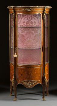 Furniture : French, A LOUIS XV-STYLE VENEERED GILT BRONZE MOUNTED VITRINE CABI...