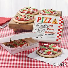 Pizza Cookies and the entire theme is adorable for a birthday party!