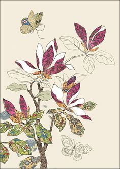 BugArt Collage ~ Magnolia. Collage *NEW* Designed by Jane Crowther.