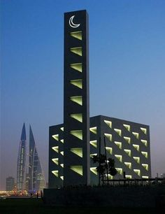 Arcapita Bank HQ, East Park Mosque, Bahrain: More on dpa lighting consultants project page Mosque Architecture, Sacred Architecture, Religious Architecture, Beautiful Architecture, Architecture Design, La Ilaha Illallah, Facade Lighting, Kairo, Beautiful Mosques